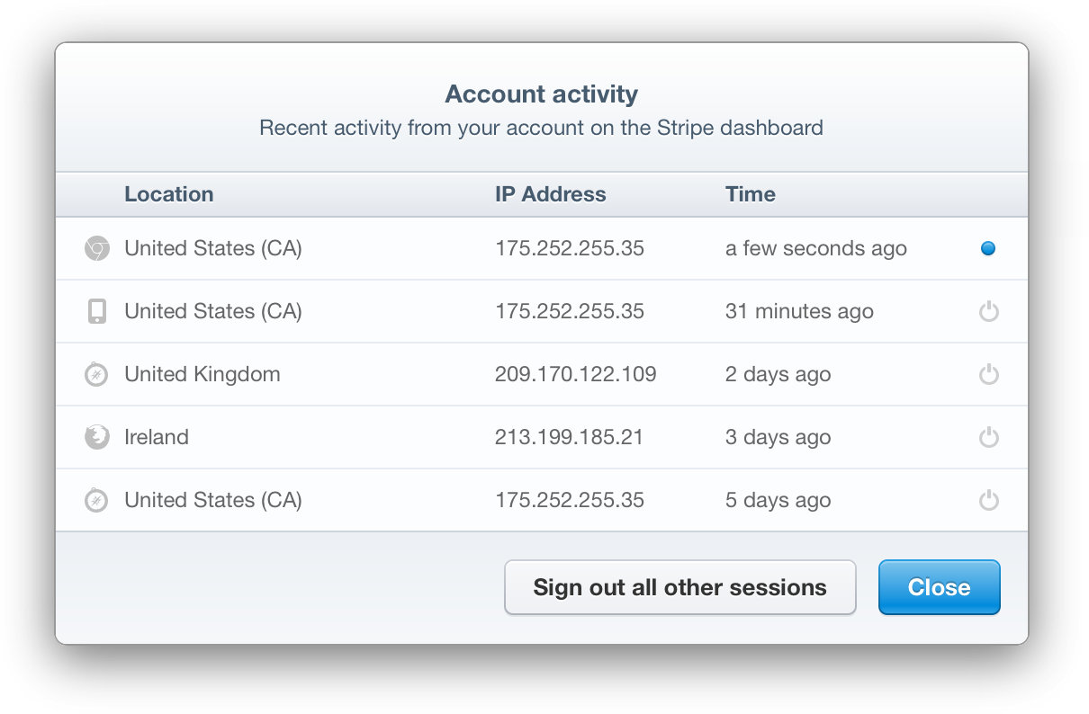 Screenshot of the Account Activity interface in the Stripe Dashboard