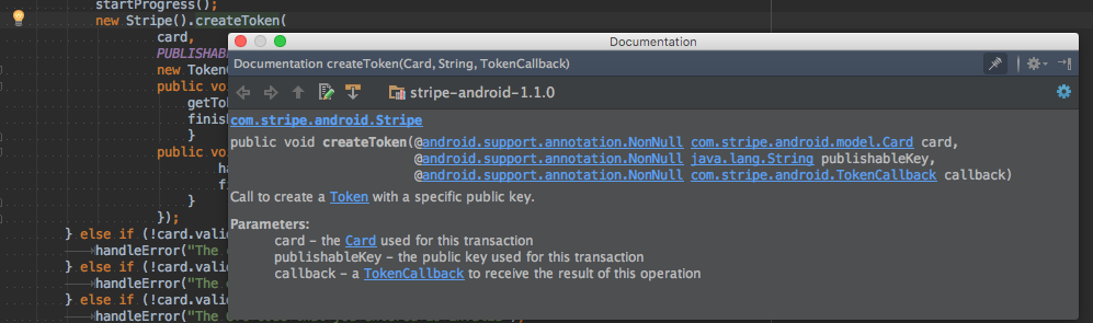 A screenshot of the Stripe Android SDK Javadoc documentation showing in IntelliJ