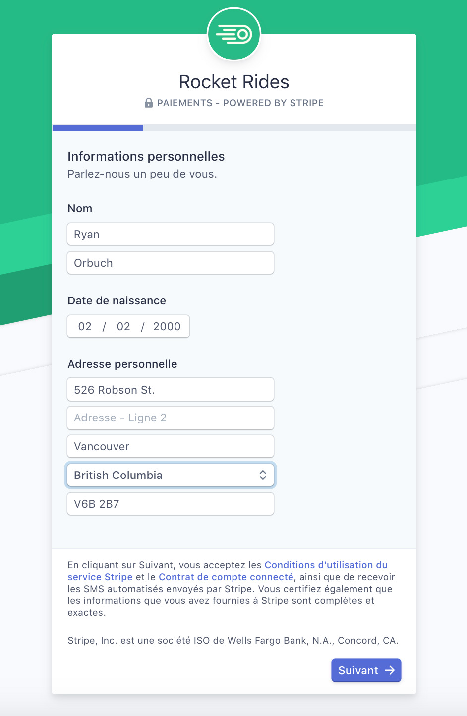 To onboard a French-speaking user in Canada, you'd need to localize the form to handle changes in field structure and validation, business entity types, and compliance requirements (e.g., in Canada, you can't require collection of a Social Insurance Number). The Connect onboarding flow for Express accounts handles all of these considerations.