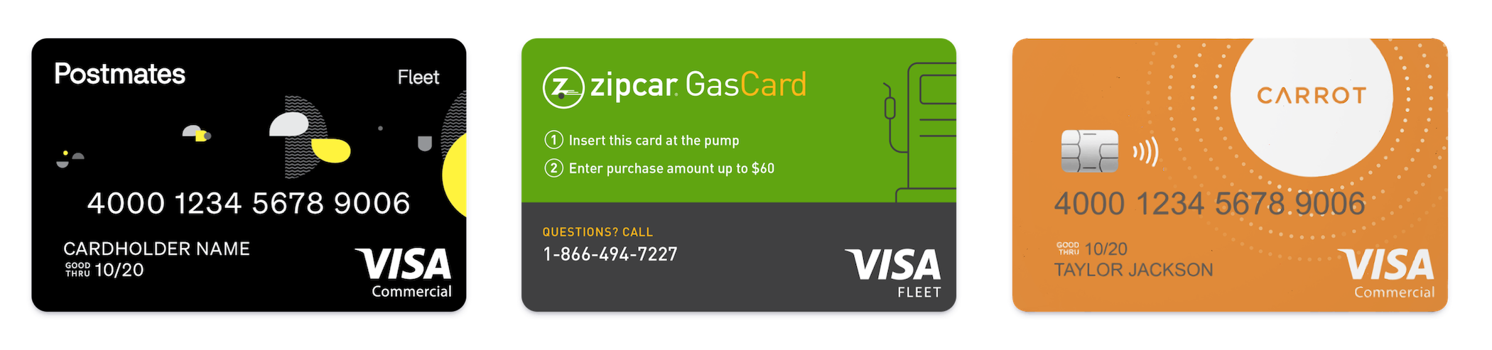 Postmates, Zipcar, and Carrot designed cards on Stripe Issuing.