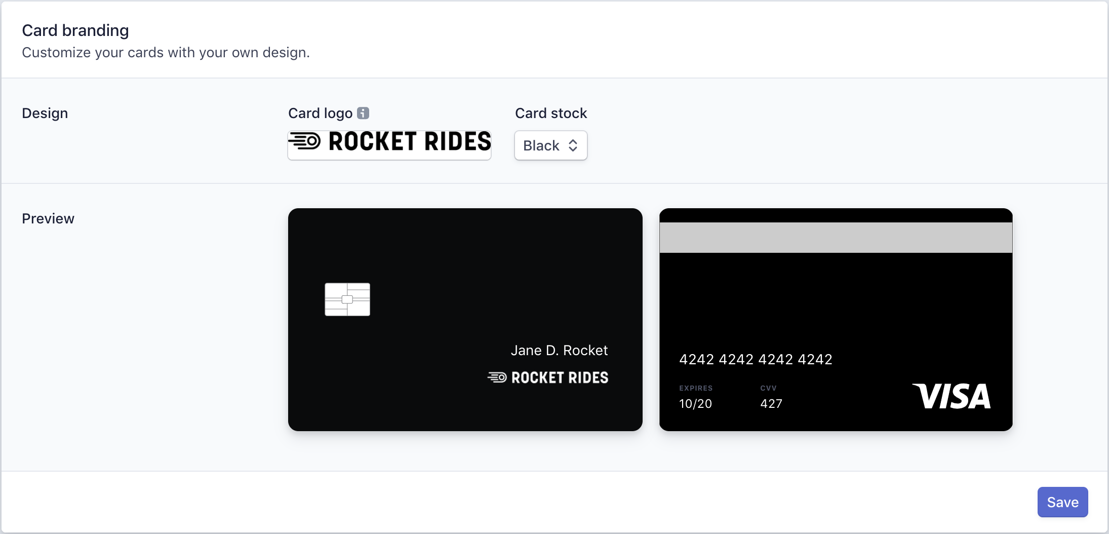 Customize and order branded cards from the Stripe Dashboard