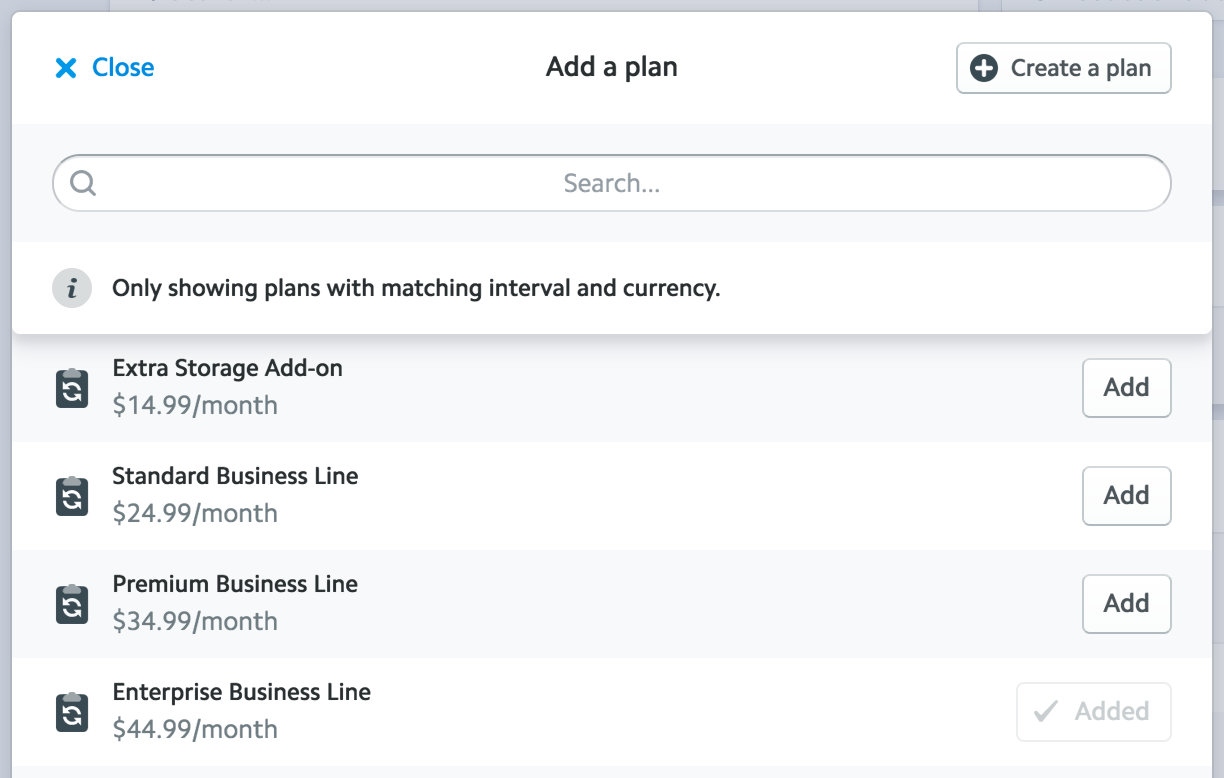 A screenshot of the 'multiplan add a plan' dialog in the Stripe Dashboard