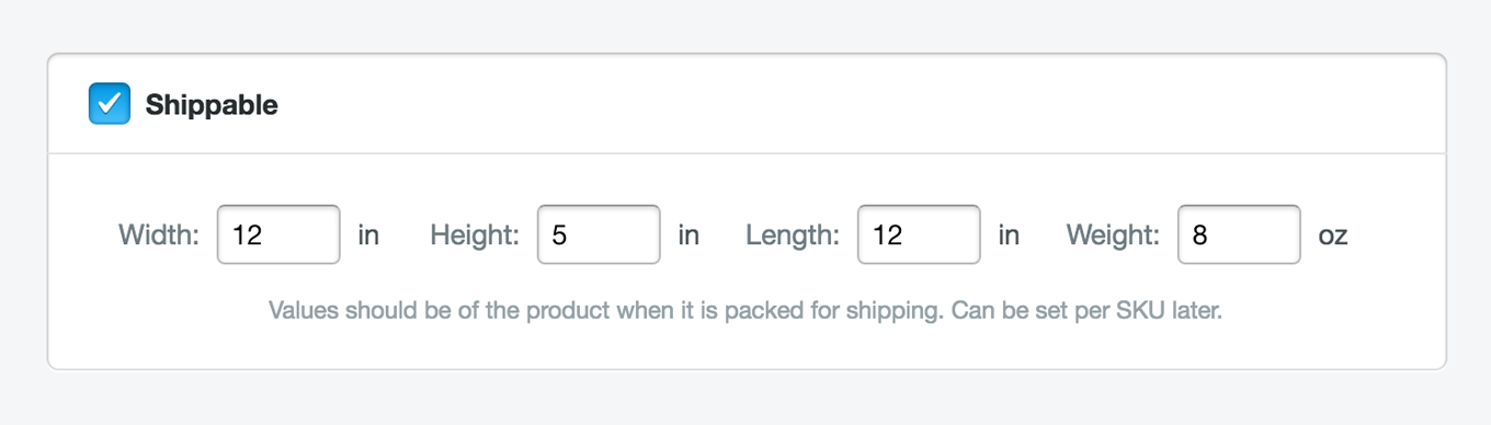 A screenshot of the Shippable controls in the Stripe Dashboard