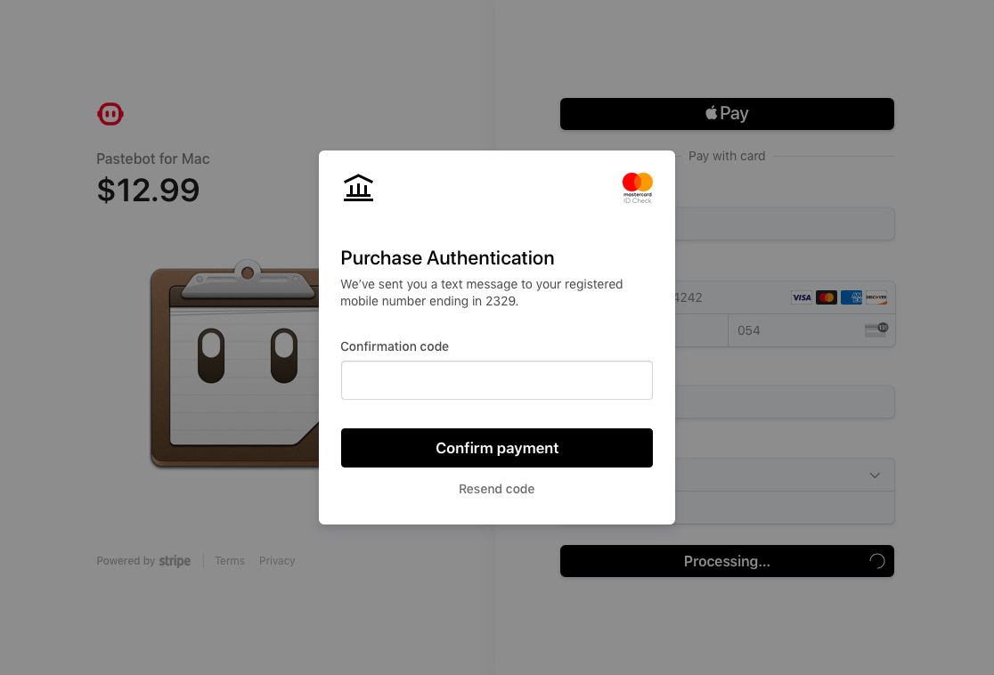 Pastebot checkout powered by Stripe Checkout