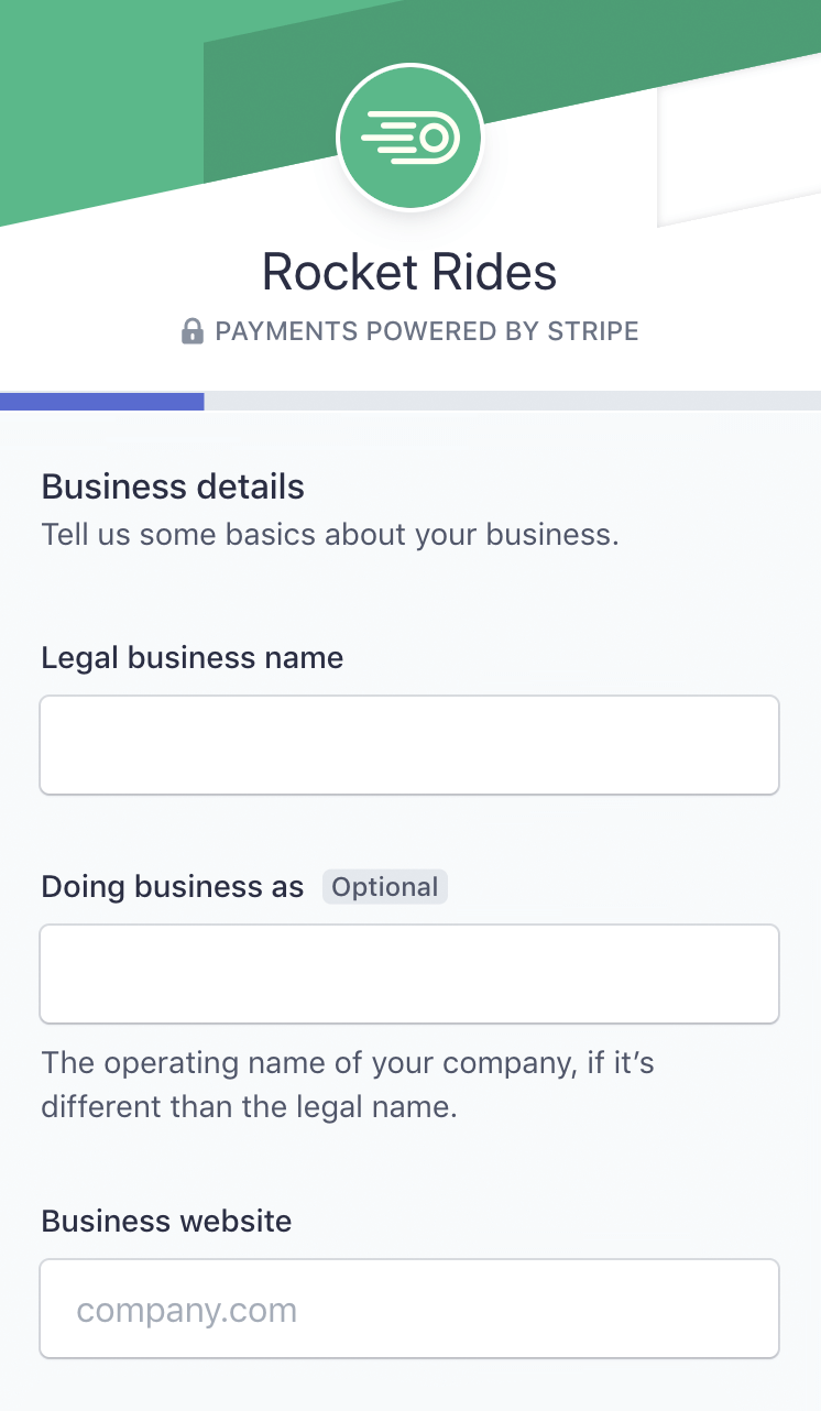 Stripe makes it easy for a platform's user to fill out the onboarding form, ensuring successful signups.